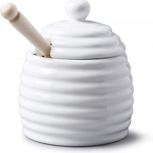 Porcelain Honey Pot White