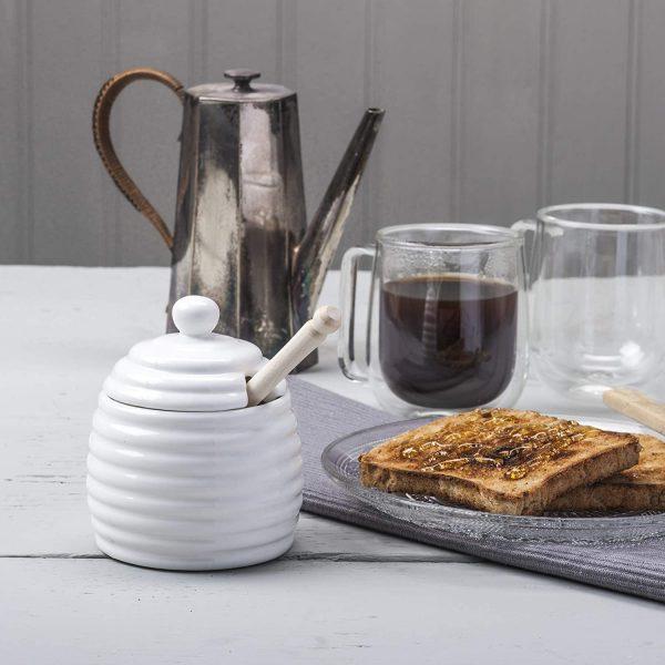 Porcelain Honey Pot White