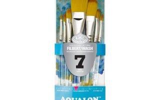 Aqualon Royal and Langnickel Short Handle Paint Brush Set, Filbert, 7-Piece Set