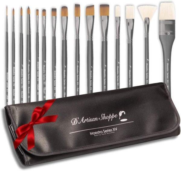 Artist Paint Brush Set Professional 15pc by D' Artisan Shoppe Maestro Series XV