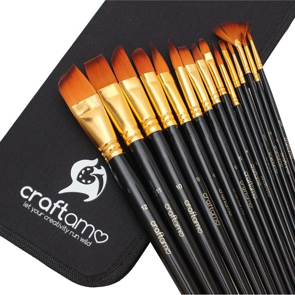 Craftamo Paint Brushes. Use as Watercolor Brushes, Face Paint Brushes, and Acrylic Paint Brushes. 15 Art Paint Brushes with Paint Brush Case