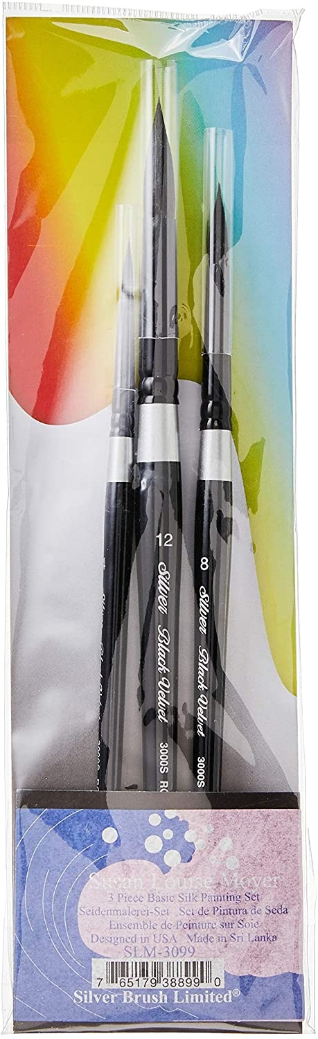 Silver Brush SLM-Basic Susan Louise Moyer Basic Silk Painting Watercolor Set, 3 Per Pack
