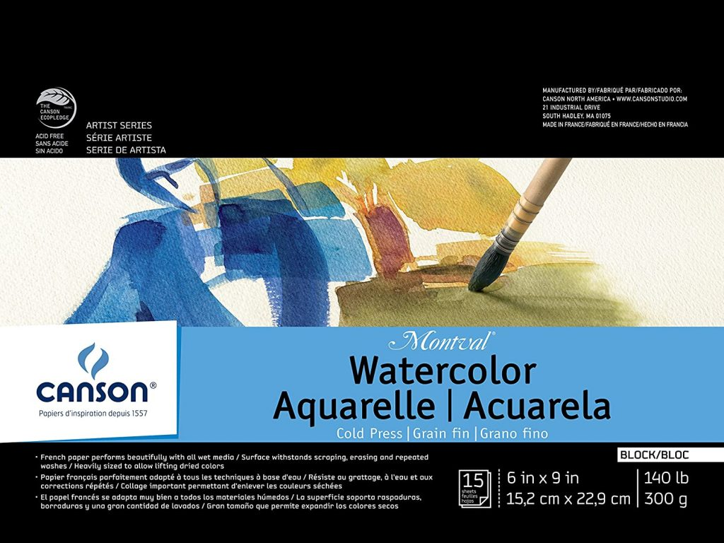 Canson Montval Watercolor Block, Cold Press Acid Free French Paper (6x9inch - 15 Sheets)