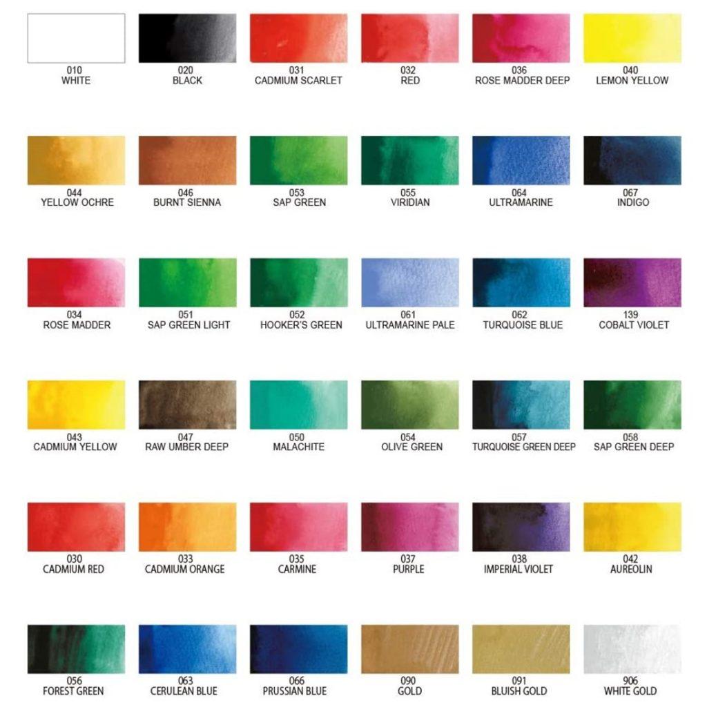 Gansai Tambi Paints   36 Color Chart