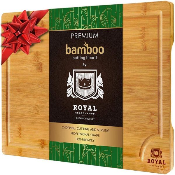EXTRA LARGE Organic Bamboo Cutting Board with Juice Groove by Royal Craft + Wood
