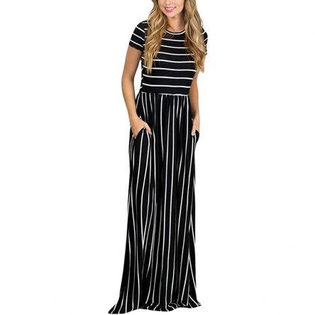 HOTAPEI Women's Summer Casual Loose Striped Long Dress | Short Sleeve Pocket Maxi Dress
