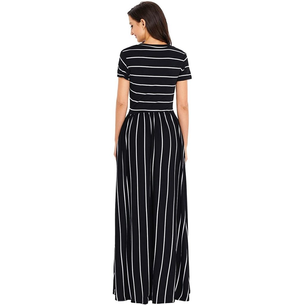 Hotapei Dress - Summer Casual Loose Striped Long Dress (Back View)
