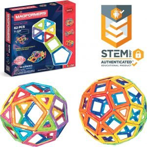 Magformers Basic Set (62-Pieces) Magnetic Building Blocks, Educational Magnetic Tiles, Magnetic Building STEM Toy, Multi-Colored, Model Number 63070