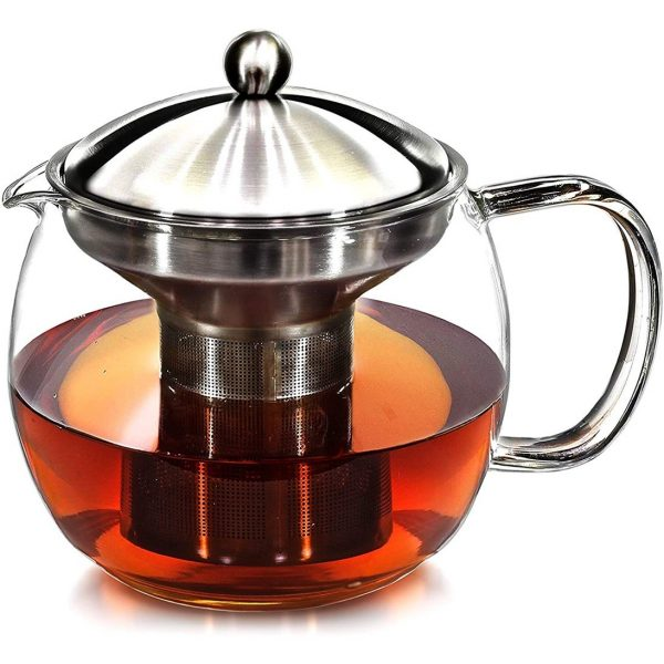 Teapot with Infuser for Loose Tea - 40oz, 3-4 Cup Tea Infuser