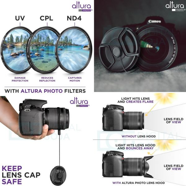 58mm Altura Photo Professional UV CPL ND4 Lens Filter and Close-Up Macro Accessory Kit for Lenses with a 58mm Filter Size 4