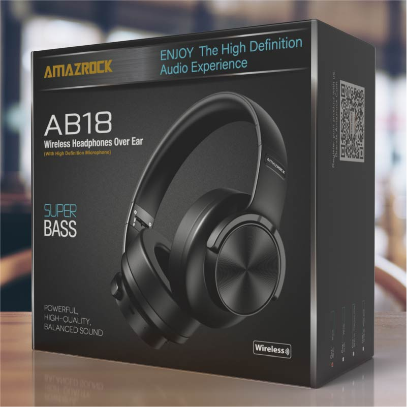 Amazrock AB18 Wireless Bluetooth Headphone - HD Audio Experience | with Microphone